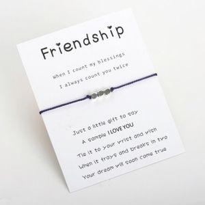 Jewelry - FRIENDSHIP Beaded Navy Blue Rope Bracelet & Card